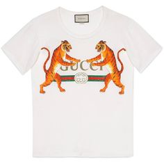 e7d54ec9 Gucci Gucci Logo With Tigers T-Shirt found on Polyvore featuring tops, t-