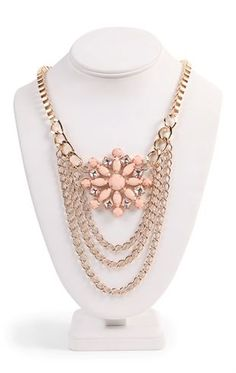 Deb Shops Short Statement Necklace with Chain Rows and Stone Center $8.17