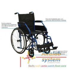 CARROZZINA BASIC AUTOSPINTA - 149,90 € - Codice  CAR-PB - Prodotto  Nuovo - Telaio pieghevole di acciaio verniciato in colore blu-Stabilizzatori di seduta-Pedane regolabili in altezza, ribaltabili ed estraibili-Ferma-polpacci-Misure di seduta disponibili: cm. 41-43-46-Tasca porta-oggetti posteriore-Peso: kg. 17,5 circa-Peso massimo sopportato: kg. 110-Codice di classificazione ISO: 12.21.06.033 + 12.24.03.115 + 12.24.06.172 + 12.24.06.175 (seduta cm. 46 e 50)-RDM: 94811