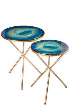 """Materials: Wood, metal, faux agate Measurements: 16""""w x 16""""d x 22.5""""h, 6 pounds  20""""h x 20""""d x 24.5""""h, 8 pounds"""