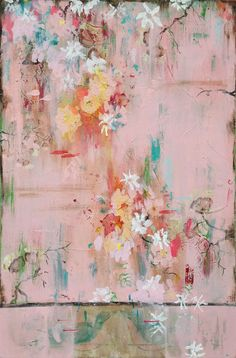 Kathe Fraga Art, www.kathefraga.com Kathe's paintings are inspired by the romance of vintage French wallpapers and Chinoiserie with a modern twist. 48x36 on frescoed panel.