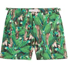 Orlebar Brown Bulldog Fauna Printed Slim Swim Shorts (€160) ❤ liked on Polyvore featuring men's fashion, men's clothing, men's swimwear, multicolored and slim fit mens clothing