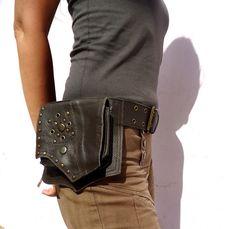 Utility Belt Leather Steampunk Hip Belt Bag With Pockets in Brown Festival Belt