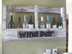 Turning a pallet into a wine bottle holder. This was stained dark, sanded lightly then painted in a white antique finish. I added a sign to the front to create…