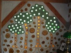 This is a good cordwood design with lots of glass....has morter than I would like but still very pretty.