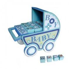 Expositor carro baby azul + 24 cajitas baby azules