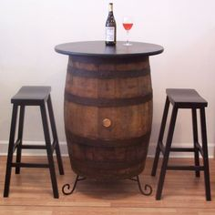 $495.00-Vintage Whiskey Barrel PubBistroBarHome Table by AuntMollysBarrels / TOP-30 RD / 2 / 24'' SADDLE SEAT BAR STOOLS / TABLE 24 RD X 35 TALL ***** NC SHIPPING
