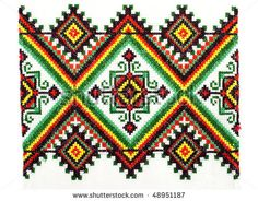 stock photo : embroidered handmade good by cross-stitch pattern. ethnic colorful pattern