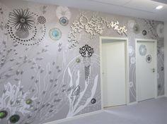 Fresques monumentales à l'Université Rennes 2, design mural par Sophie Briand