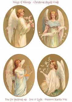 I have prepared a precious set of Christmas Angels as a collage sheet for you today: And here is just the ovals, in two different sizes: When crafting Tart Tin ornaments, I was reminded how importa. Victorian Christmas, Christmas Pictures, Christmas Angels, Christmas Art, Vintage Christmas, Christmas Poinsettia, Crochet Christmas, Vintage Greeting Cards, Vintage Ephemera