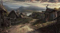 Viking Village by Lukasz Wiktorzak Fantasy town Fantasy village Viking village