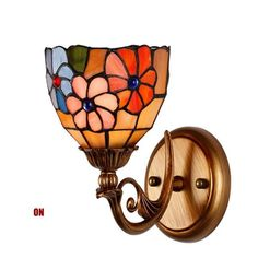 Traditional Retro Tiffany Stained Glass Lampshade Wall Sconces Bulb Beside Light Lighting Fixture For Hallway Bedroom Hanging Lantern Lights, Art Deco Wall Lights, Glass Wall Lights, Tiffany Stained Glass, Stained Glass Lamps, Stained Glass Windows, Tiffany Lamp Shade, Tiffany Lamps, Art Nouveau