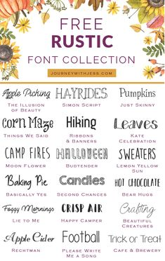 Free Font Collection Rustic Fonts — Journey With Jess Inspiration for your Creative Side is part of Rustic font Happy fall! It& been almost 7 weeks since my last font collection series post and - Fancy Fonts, Cool Fonts, Creative Fonts, Info Board, Cricut Craft Room, Calligraphy Fonts, Handwritten Fonts, Calligraphy Alphabet, Cricut Tutorials