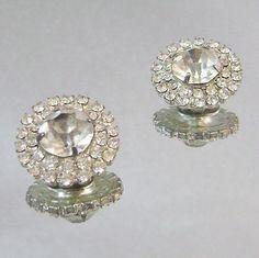Vintage Wedding Earrings 1950s Clear Rhinestone Cluster in SilverFrom waalaa