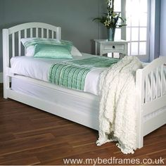Despina white wood #bed frame for #guests
