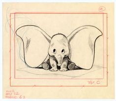 Exhibition: All the art of Disney, one of the first sketches of Dumbo Art Disney, Disney Concept Art, Disney Kunst, Dumbo Disney, Disney Drawings, Cute Drawings, Drawing Sketches, Drawing Ideas, Sketching
