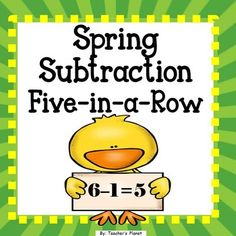 FREE Spring Subtraction 5-in-a-Row!Spring Subtraction 5-in-a-Row is a fun way to learn subtraction facts. Students take turns rolling 2 dice and subtracting the numbers to find the differences. Students find the answers on the Spring 5-in-a-Row board.