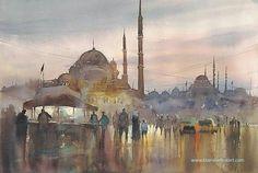"""Istanbul, Turkey"" watercolor by Keiko Tanabe"