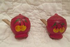 2 Vintage Curtain Pins Wooden painted teapots SALE by rarefinds4u on Etsy