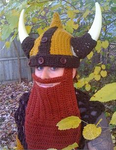 This is the most elaborate Crochet Viking Costume I've seen! Usually the beard is just yarn cut in various lengths, but I like this idea better. The buttons are a nice tough too!