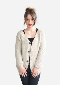 Chunky Knit Cardigan with Wooden Buttons Side Pocket by Plexida #etsy #handmade