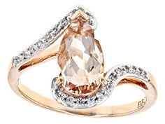 Pear Shape Cor-de-rosa Morganite(Tm) With Round White Zircon Rose Gold Ring Pink Gemstones, Natural Gemstones, Buy Jewellery Online, Gemstone Engagement Rings, Coral Jewelry, Morganite Ring, Bridal Rings, Jewelry Trends, Gold Rings