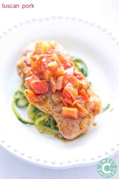 tuscan pork- this delicious low carb and paleo dish is a huge hit with our whole family!