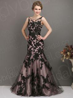 vintage floor length wedding dress with black lace