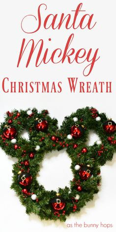 mouse crafts Celebrate the season with a DIY Santa Mickey Christmas Wreath! Includes instructions on how to make a simple Mickey Mouse/Hidden Mickey shaped wreath that can be customized f Disney Christmas Crafts, Mickey Mouse Christmas Tree, Christmas Reef, Disney Christmas Decorations, Disney Diy Crafts, Mickey Mouse Halloween, Christmas Wreaths, Santa Decorations, Gold Christmas