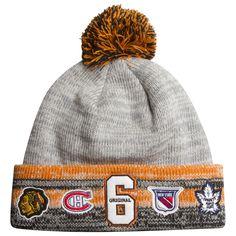 Chicago Blackhawks Grey, Orange, and Black Original 6 Knit Pom Hat by Old Time Hockey #Chicago #Blackhawks #ChicagoBlackhawks #MontrealCanadiens #BostonBruins #NewYorkRangers #TorontoMapleLeafs #DetroitRedWings