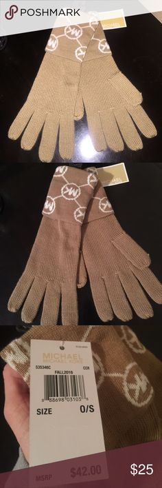 NWT MK Michael Kors gloves tan winter glove mitten NEW with tags Michael Kors gloves. From Fall 2016 Collection. Color is tan and white. The 2nd pic is no flash. Beautiful MK Christmas gift, or gift yourself ;) ships next day . Price is firm Michael Kors Accessories Gloves & Mittens