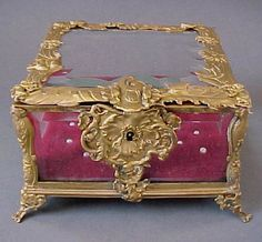 Antique French Dore Bronze & Bevelled Glass Jewelery Box from Antique Mystique on Ruby Lane