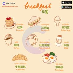 🥞🍳☕️ A useful list of foods for breakfast with pictures 🥐 Learn these breakfast food names to enhance your vocabulary words… Chinese Fruit, Basic Chinese, How To Speak Chinese, Learn Chinese, Chinese English, Learn Korean, Cantonese Language, Chinese Language, Korean Language