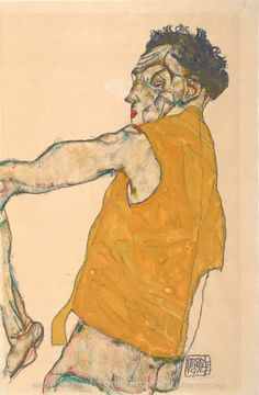 Egon Schiele, Self-Portrait in Yellow Vest oil painting reproduction