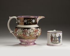 STAFFORDSHRE COPPER AND MOTTLED PINK LUSTRE, ENAMEL SPRIGGED AND PAINTED JUG, ENOCH WOOD & SONS, 1825-35.