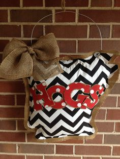 Burlap Arkansas Door hanger with HOGS across front on Etsy, $27.00