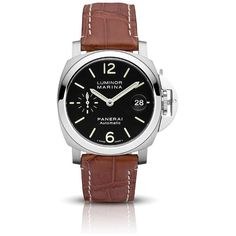 Panerai Men's Luminor Marina Automatic Watch (341,860 PHP) ❤ liked on Polyvore featuring men's fashion, men's jewelry, men's watches, stainless steel and watches