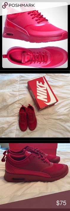 Nike Air Max Thea Women's Gym Red Size 8.5 ❤️❤️❤️ Very hard to find All Red Nike Air Max Thea Women's Running Mesh Gym Red Sneakers. These are a beautiful true red sneaker. Great for summer time! Can turn any outfit into a cute athletic wear. Add to your July 4th outfit! ❤️❤️ I have worn these twice and they still look brand new. Currently selling on Kixify.com for $144.97!!!! Comes with original box. Bundle and save even more money  Nike Shoes Sneakers