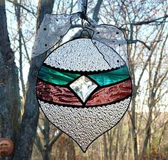 Stained Glass Irridesent Purple and Teal Christmas Ornament Suncatcher