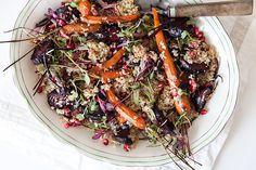 A rich quinoa and roast veg salad.