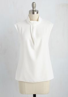 Sleek Supervisor Top in White. Theres an respectable ease that comes with your managing style, and in this white top by Closet London, your finesse is tangibly translated! #white #modcloth