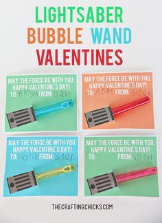 Star Wars Lightsaber Bubble Wand Valentines - Free Printable - Oh my kids are going to love giving this Valentine to their class!