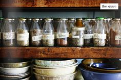 I love re-using glass bottles and jars instead of plastic!