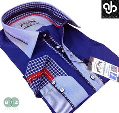 Brand New Men's Formal, Smart,  Navy Blue, White, Baby Blue With a Hint of Red Smart Italian Designer Slim Fit Shirt  with Amazing Contrast Check, with Stripes Pattern on Collar, Centre Front, and Inner / Outer Cuffs   - NEW DESIGN - S - 3XL