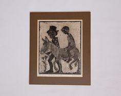 Vintage #Signed #Helen #Siegl #Woodcut #Print #Folk by lastprizevintage