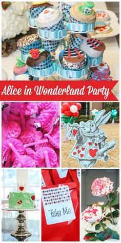This Alice in Wonderland birthday party has painted white roses, flamingo straws, and themed sandwiches!  See more party planning ideas at CatchMyParty.com!