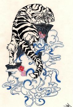 Japanese Tattoo Art, Japanese Art, Japanese Tiger, Tiger Sketch, Tiger Drawing, Tattoo Drawings, Art Drawings, Tattoo No Peito, Japon Illustration