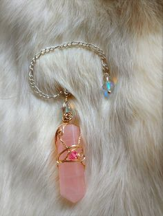 Rose Quartz Crystal Pendulum / Dowsing Tool Wire wrapped with 12k gold and .925 Sterling Silver
