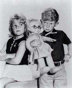 "Jody (Johnny Whitaker) and Buffy (Anissa Jones) and Mrs. Beasly. ""Family Affair"""