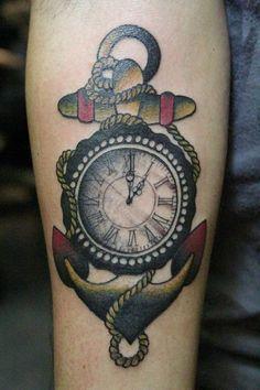 Coloured Anchor And A Compass Tattoo ~ Anchor Tattoo Ideas